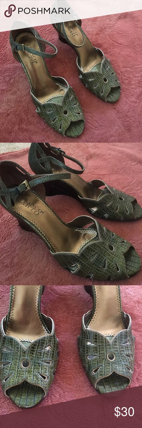 Franco sarto olive green and gold wedge shoes Super adorable and comfy wedge shoes size 7.5 genuine leather with gold detailing and cute cut outs. Alligator detailing. Seriously adorable and in great used condition. No signs of wear on heels or bottom of soles Franco Sarto Shoes Wedges