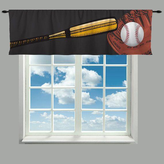 Custom Window Curtain Baseball Glove Bat And Ball By