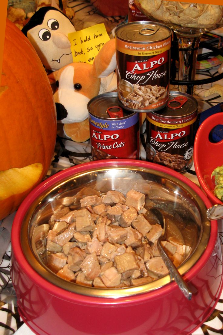 Dog Food for Humans..............    A new dog bowl is filled with a baked pork tenderloin that has been cut into chunks.  Pork gravy is poured over it to give the same look as what is pictured on the Alpo cans, which are placed nearby to give the illusion that what is in the bowl came from the cans.  Many of my guests were so repulsed by this that they could not bring themselves to eat it.  It was a Freaky Food Prize Winner.