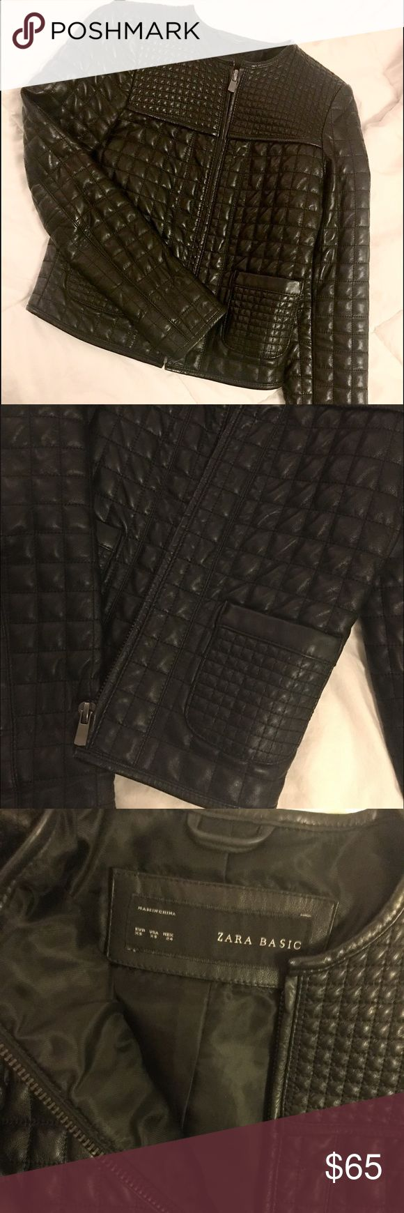 Zara leather jacket Adorable Zara black leather jacket for sale! Size XS, worn once, in perfect condition. In the photos, the jacket appears to be shiny / patent leather, however, the jacket is not shiny. Let me know if you have any questions! ✨ Zara Jackets & Coats