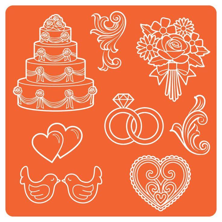 Moule en silicone Mod Podge sur le thème du Mariage - Peut être utilisé avec du Mod Podge Melts, de la porcelaine froide, de la pâte polymère et tout type de moulage adapté au silicone (résine, béton...). #wedding
