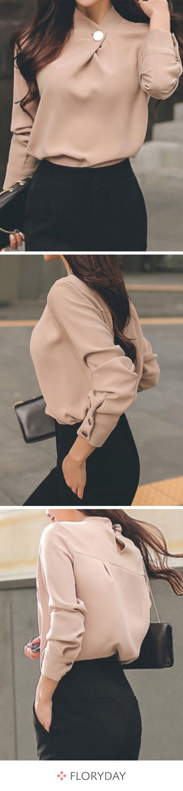 Solid Elegant High Neckline Long Sleeve Blouses 1