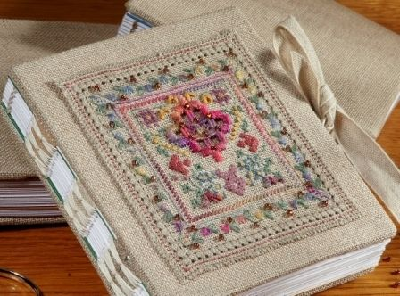 handmade book with cross-stitch - Kate Bowles Books : Little Linen Books