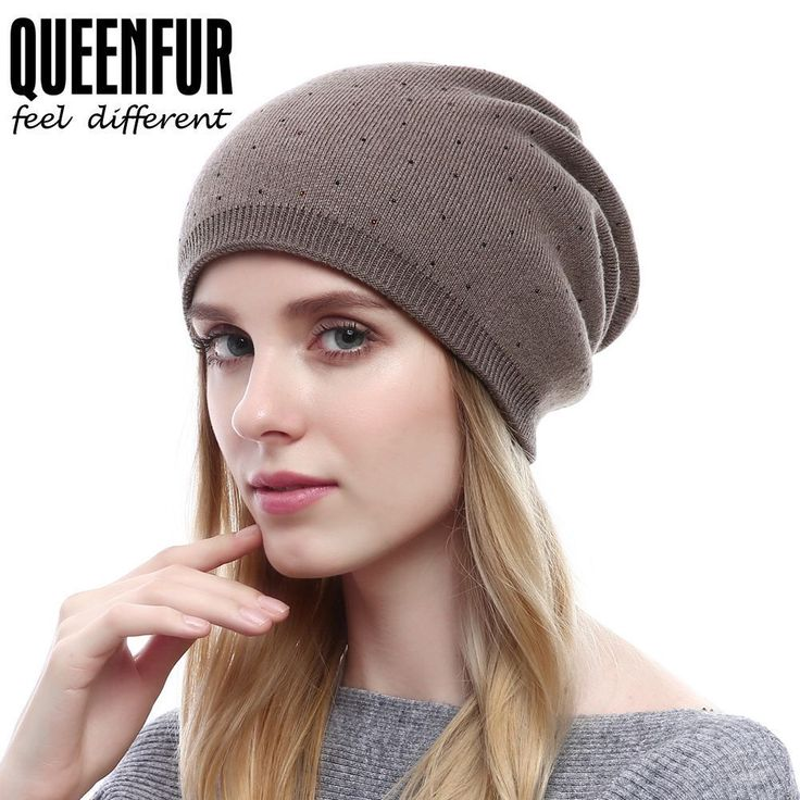 Queenfur Women Wool Solid Beanie Knit Cashmere Ski Hat Winter Warm Oversized Cap