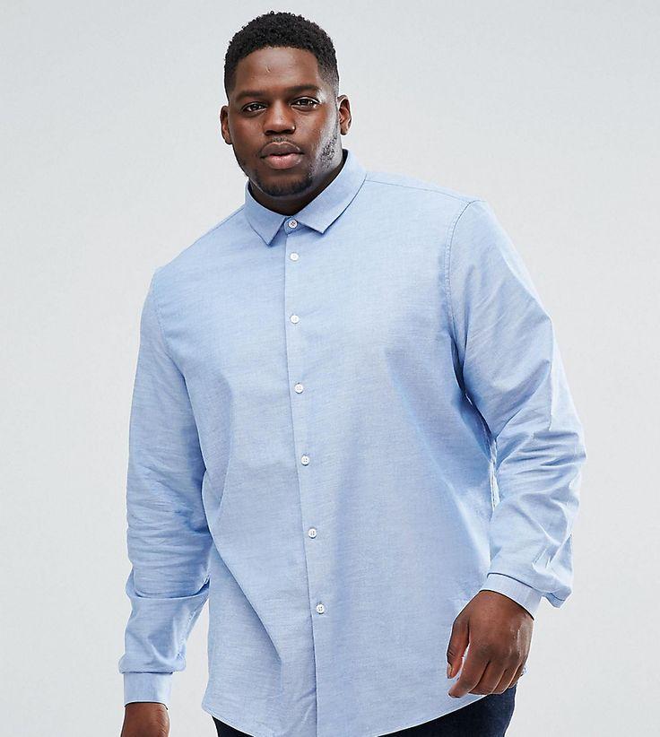 ASOS PLUS Stretch Slim Formal Oxford Shirt In Blue - Blue