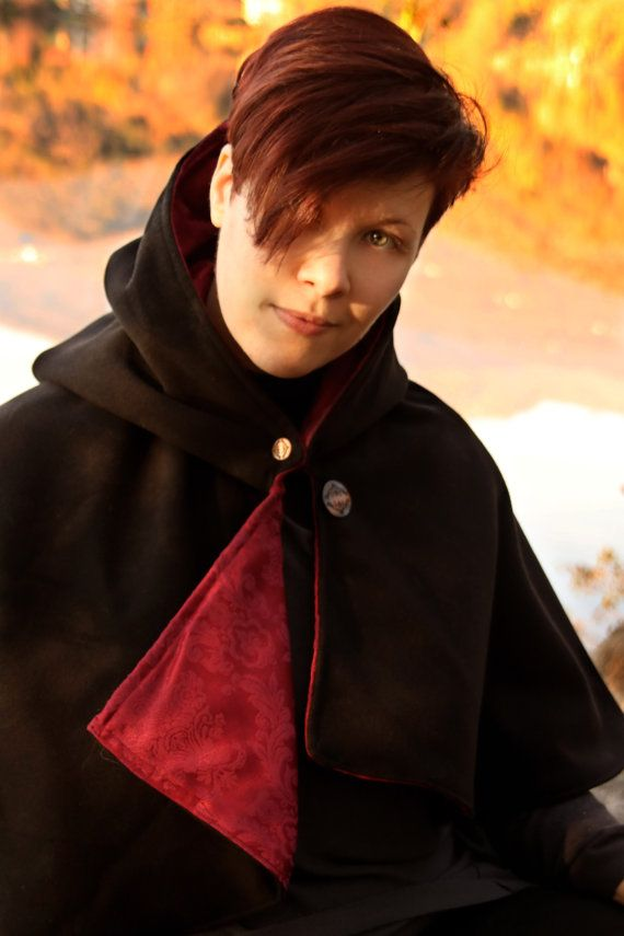 READY TO SHIP  Black cape whit hood assassin by RavenThreadsLab