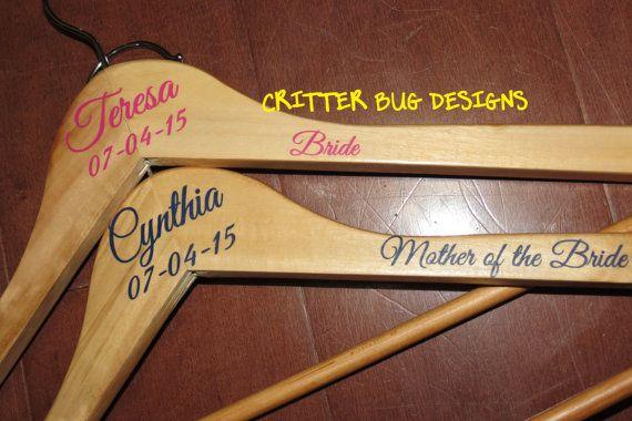 Custom Wedding Hanger Decals for the bride, maid of honour, bridesmaid, mothers, flowergirl, etc