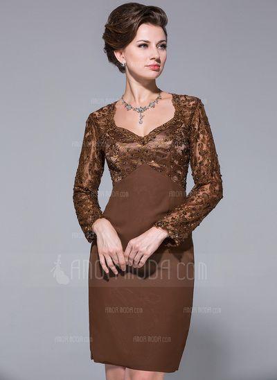 Kleider für die Brautmutter - $162.99 - Etui-Linie Herzausschnitt Knielang Chiffon Spitze Kleid für die Brautmutter mit Perlen verziert Pailletten (008025719) http://amormoda.de/Etui-linie-Herzausschnitt-Knielang-Chiffon-Spitze-Kleid-Fuer-Die-Brautmutter-Mit-Perlen-Verziert-Pailletten-008025719-g25719
