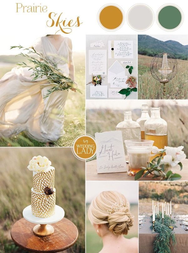 Natural Gold - An End of Summer Wedding with Hammered Gold Details and Greenery Garlands on the Prairie