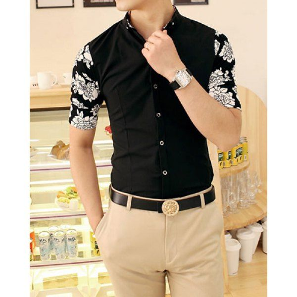 Fashion Stand Collar Half Sleeves Polyester Shirt For Men, BLACK, XL in Shirts | DressLily.com