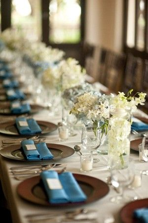 Place Setting with Blue Napkins and Blue and White Hydrangea #wedding #flowers #decor