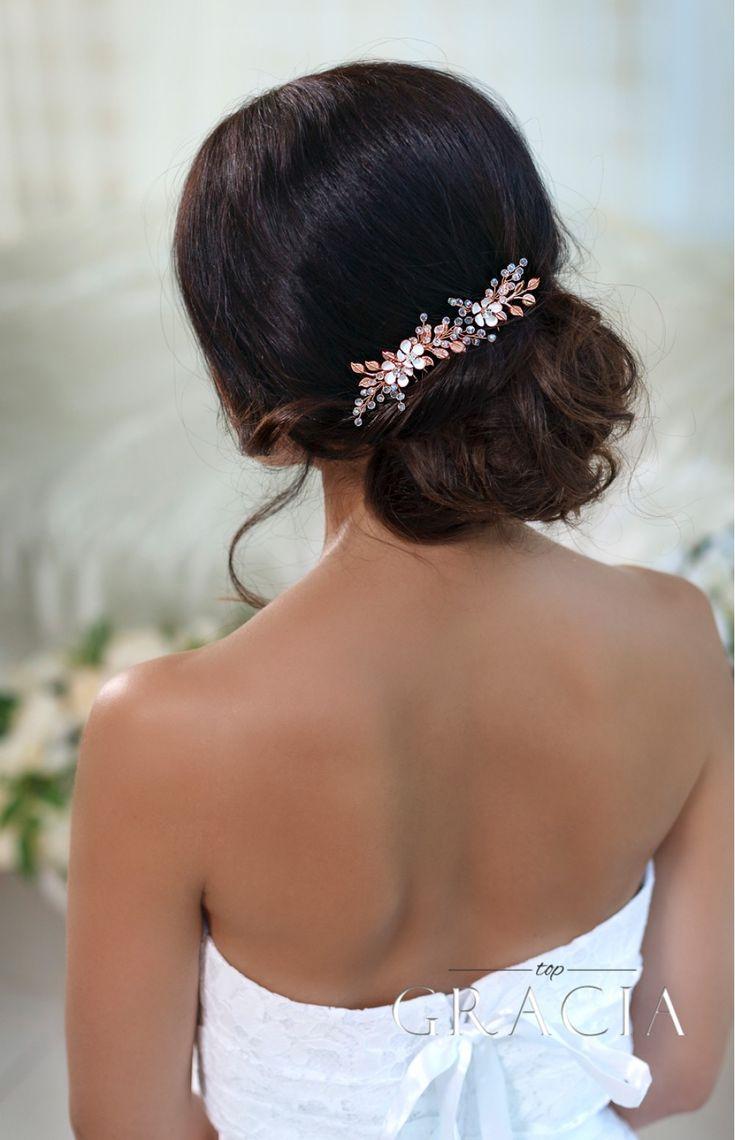 KASSANDRA Rose Gold Wedding Hair Accessories Flower Bridal Hair Pins by TopGracia #topgraciawedding #bridalhairaccessories #weddingheadband