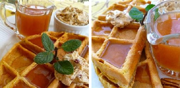 THANKSGIVING: BREAKFAST ~ pumpkin waffles and apple cider syrup