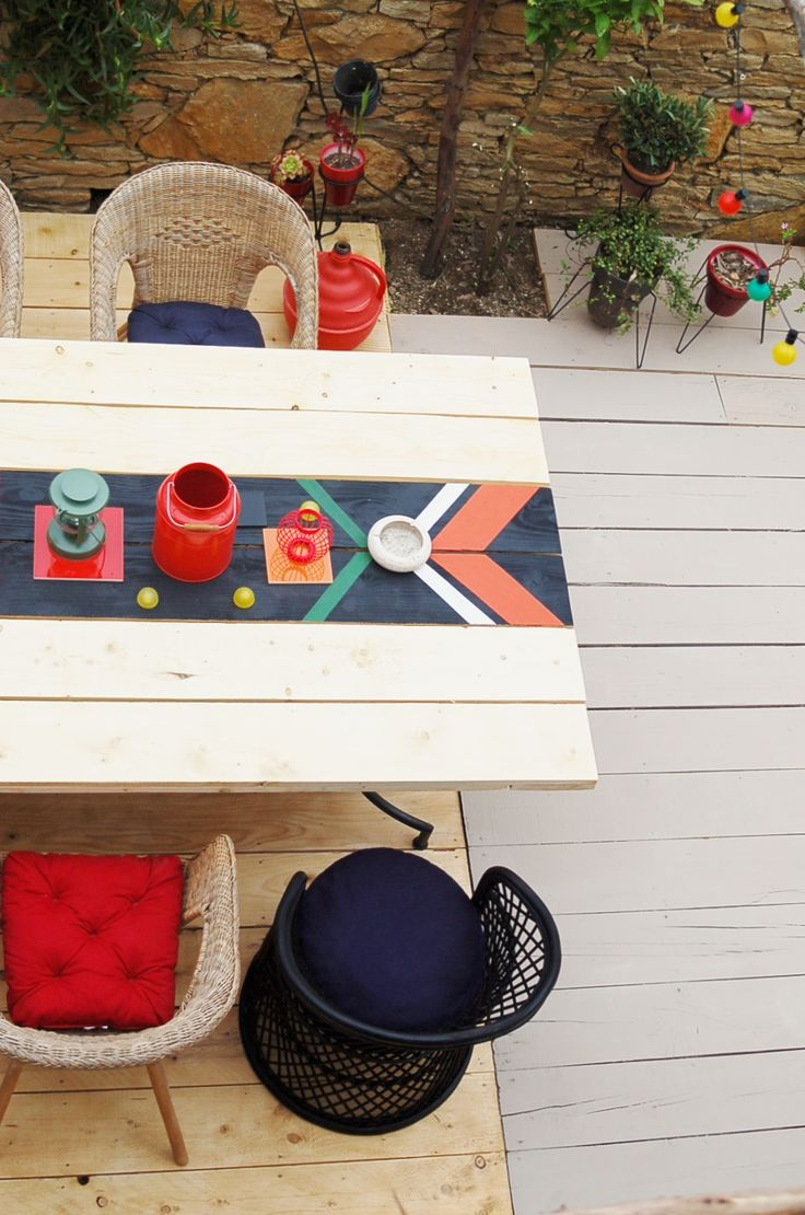 outdoor dining. » Love the painted table.