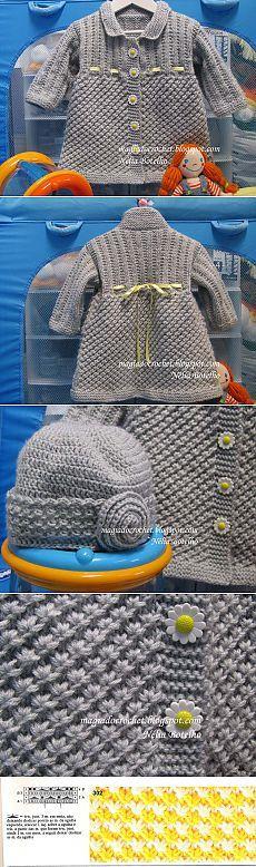 Тёплое вязаное пальто и шапочка для девочки