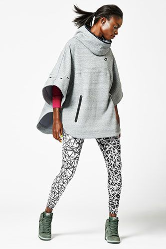 Nike Tech Fleece Poncho, $130, available at Nike; Nike Leg-A-See Allover Print Tights, $50, available at Nike; Nike Dunk Sky Hi Print Shoe, $125, available at Nike.
