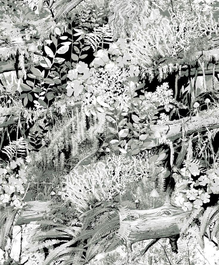 Trollskogen Grey wallpaper by Vallila