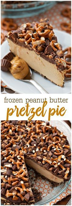 Frozen Peanut Butter Pretzel Pie - an AMAZING frozen dessert consisting of a graham cracker and pretzel crust, frozen peanut butter filling, topped with chocolate, pretzels, and peanut butter cups. The most perfect salty and sweet combination!!
