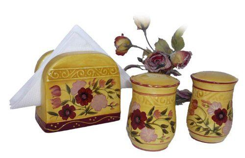 Floral Garden Collection Handcrafted Napkin and Salt & Pepper Shaker Set by ecWorld. $26.62. Microwave and dishwasher safe. Shakers measure 2.25 inches diameter x 3.5 inches tall. Napkin holder measures 4.75 inches wide x 3 inches deep x 4.5 inches tall. Napkin holder, salt and pepper shakers are hand crafted and hand painted by expert craftsmen. Enjoy beautiful painted flowers in burgundy and peach tones against a warm golden background. With fresh elegance th...