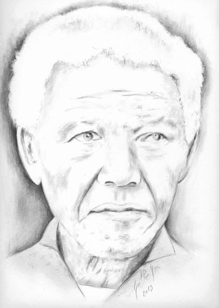 17 best images about dessins drawing pencil on pinterest pablo picasso elizabeth ii and portrait - Dessin mandela ...
