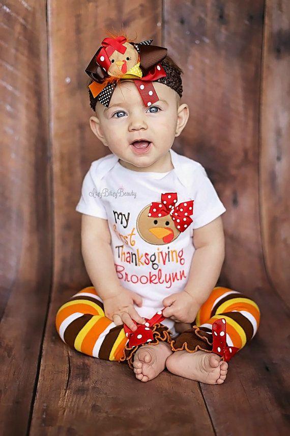 Mi primera acción de gracias chica traje femenino Turquía venda del bebé otoño colores