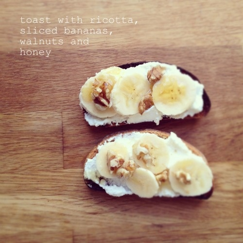 toast with ricotta, sliced bananas, walnuts and honey by ...