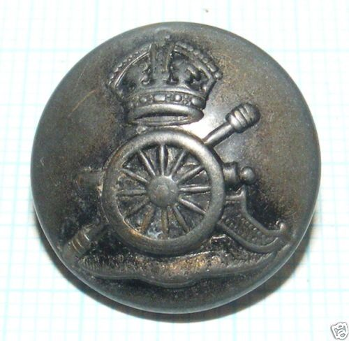 1248/ ANCIEN BOUTON EN METAL CANON COURONNE DIAM.17mm / MILITAIRE A DETERMINER