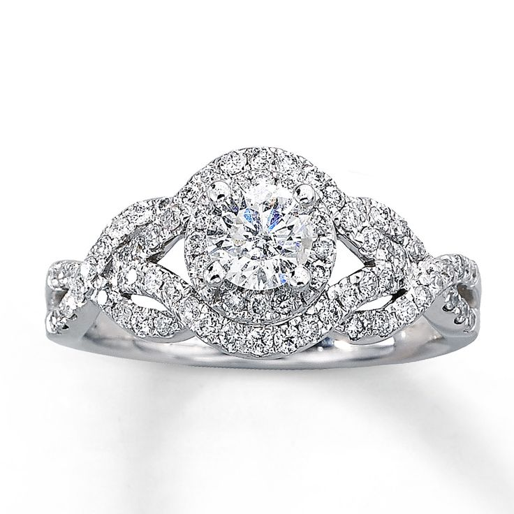 take her breath away with this stunning engagement ring a luminous round diamond is surrounded - Jared Wedding Rings For Her