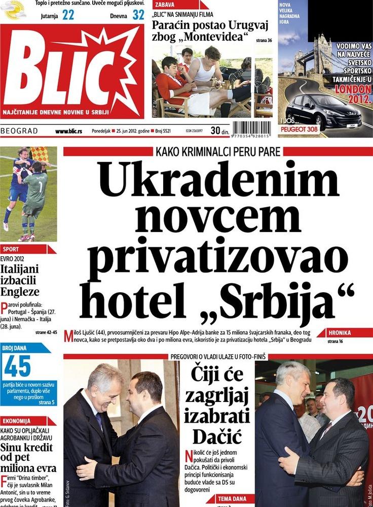 """Naslovna strana """"Blica"""" za 25. jun 2012."""