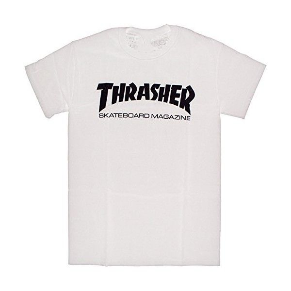 Thrasher Skate Mag Short Sleeve S-White/Black T-Shirt ($20) ❤ liked on Polyvore featuring tops, t-shirts, tees, bluser, delete, sports tees, short sleeve tops, sport top, sports t shirts and black and white tee