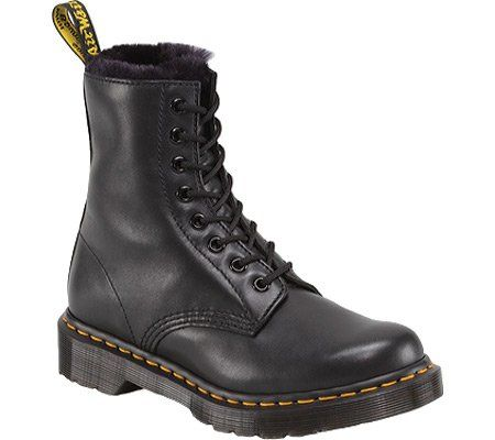 Dr. Martens Women's Serena Boot,Black Cartagena,5 UK/7 M US. Dr. Martens' signature silhouette is warmed up for winter with a fuzzy, faux fur lining.