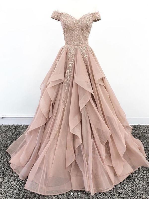 8de298d4c7a Off Shoulder Dusty Champagne Lace Cheap Long Evening Prom Dresses ...