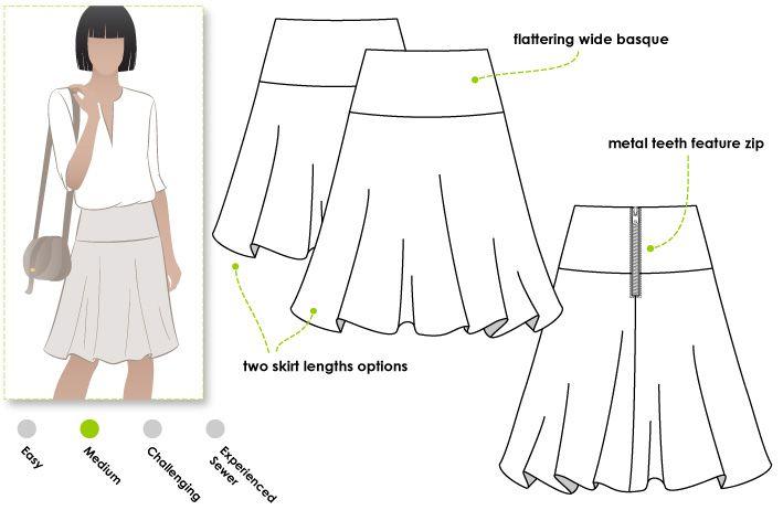 Gabriella Skirt - Style Arc Flip skirt on a Basque featuring an exposed back zip