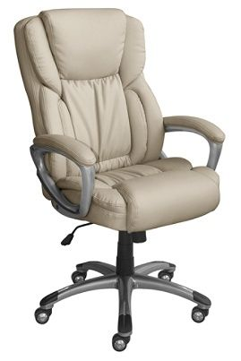Serta Works Bonded Leather High Back Office Chair American Beigesilver By Depot Officemax
