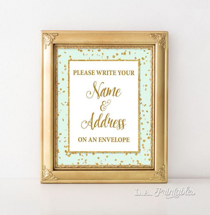 Address an Envelope Sign, Mint & Gold Glitter Shower Table Sign, Baby, Bridal Shower Sign, 2 Sizes, DIY Printable, INSTANT DOWNLOAD by LAPrintables on Etsy https://www.etsy.com/listing/400729457/address-an-envelope-sign-mint-gold