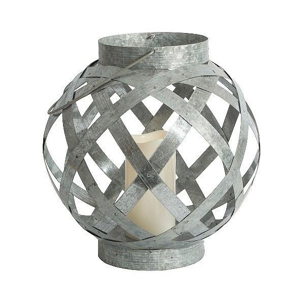 threshold medium galvanized orb led lantern 20 liked on polyvore featuring home battery powered