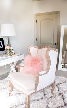 Feminine Home Office Decor Get The Look With A White And Gold Chair And A Pink Fur Pillow