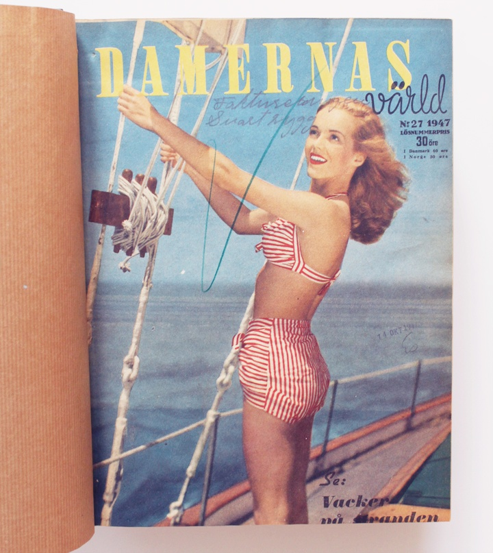 Damernas Värld, fashion, bikini, striped bikini, 50's. More vintage fashion: http://damernasvarld.se/arkivet/