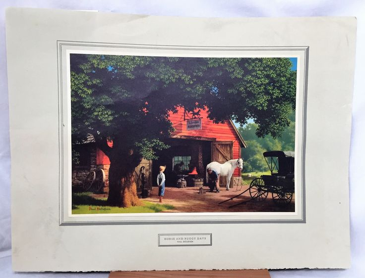 Horse and Buggy Days by Paul Detlefsen a Brown & Bigelow High Quality Tintogravure Print