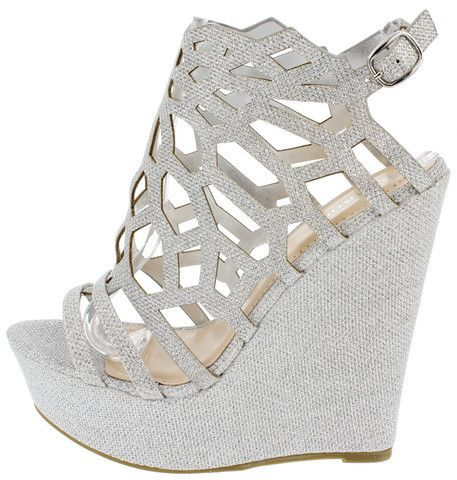 ELIZA67 SILVER CUT OUT CAGED PLATFORM WEDGE