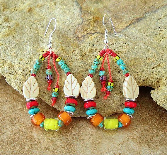 Boho Earrings Colorful Beaded Loop Earrings by BohoStyleMe on Etsy