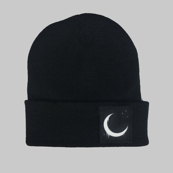 Crescent Moon Winter Beanie Headwear Hipster Indie Swag Dope Hype Black Hat Beanie Mens Womens Cute Slouchy Hat Space Lunar Cycle by IIMVCLOTHING on Etsy
