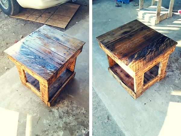 Wooden Pallet Side Table Check more at http://palleteideas.info/2016/11/12/wooden-pallet-side-table/