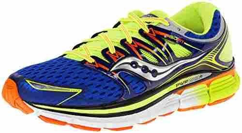 Saucony Men's Triumph ISO Running Shoe,Blue/Citron/Vizi Orange,8.5 M US