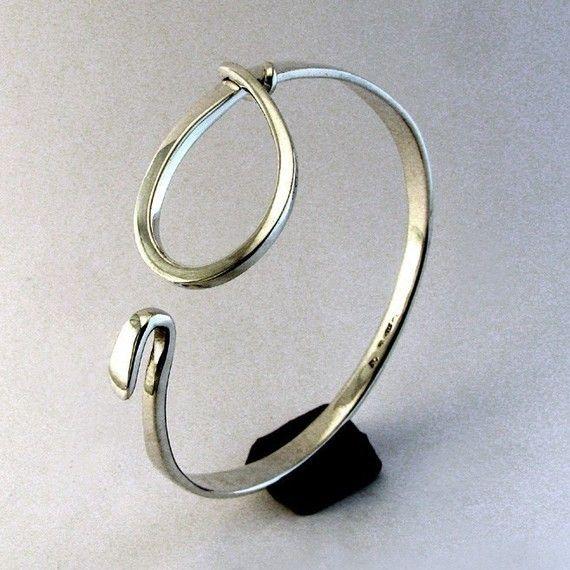Sterling zilveren Manchet armband grote lus klink