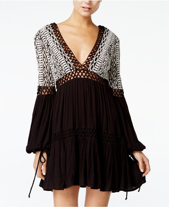 Free People Deep V-Neck Peasant Dress