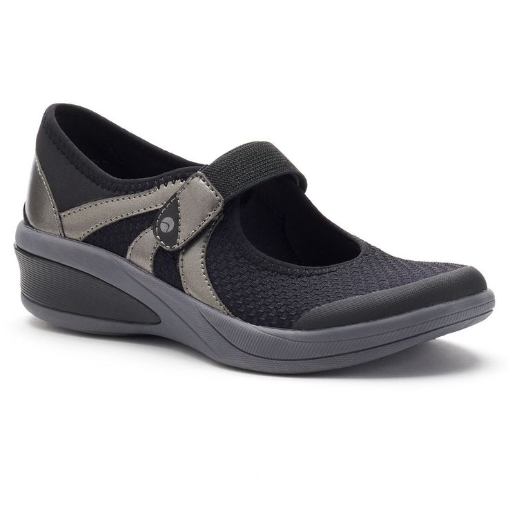 Natural Sport Fortune Women's Mary Jane Wedge Shoes, Size: medium (6.5), Black