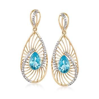 """Bring a mesmerizing touch to your attire with these spoked drop earrings. Here, 2.80 ct. t.w. pear-shaped blue topaz are held in hypnotic arcs lit with .26 ct. t.w. diamonds. Hanging length is 1 3/8"""". Clip/post, 14kt yellow gold earrings. Free shipping & easy 30-day returns. Fabulous jewelry. Great prices. Since 1952."""