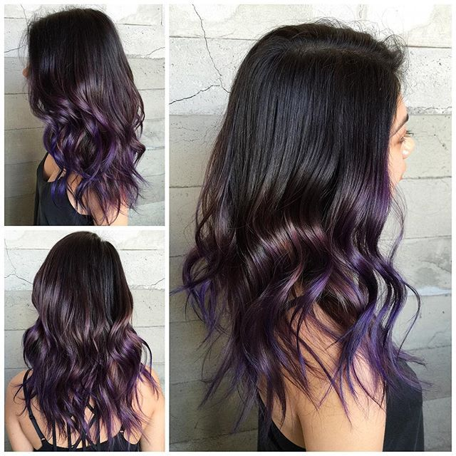 Rich brunette hair color with touches of purple hair highlights by Masey Butterfly Loft Salon hotonbeauty.com