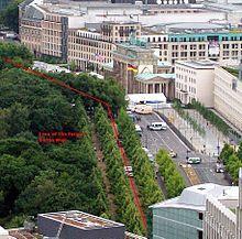 Antiga posição do Muro de Berlim de fronte do Portão de Brandemburgo